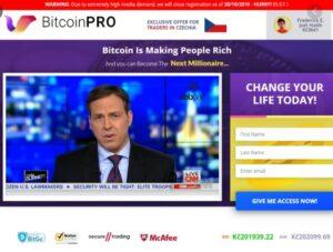 Bitcoin Pro hoempage